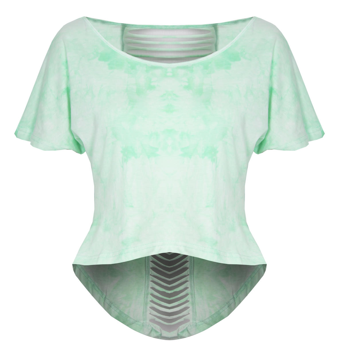Green Tie Dye Slashed Back Top Preview